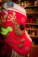 Quilted reindeer stocking $28.00